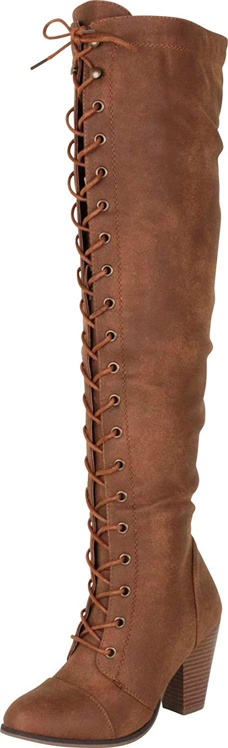 Tan Pu Cambridge Select Women's Closed Toe Lace-up Chunky Stacked Heel Over The Knee Boot