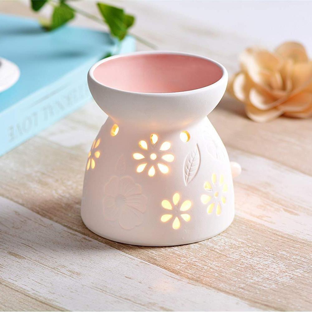 Vaso in Ceramica a Forma di fragranza diffusore Olio Domestica bruciatore di Salute Hollow Floreale Candela bruciatore aromaterapia Olio Essenziale aromaterapia Lampada Scalda Househome Light Blue