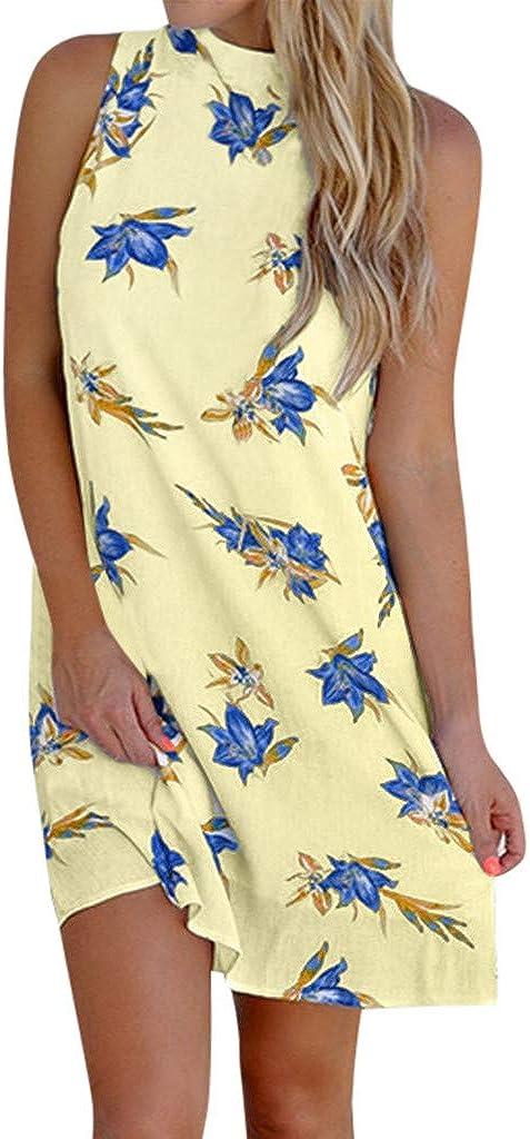 ReooLy Mini Vestito Casual da Donna con Stampa Abito Senza Spalline Vestito Estivo Beach Party Casual