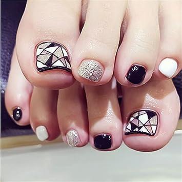 COCOPOP - 24 uñas postizas para dedos de pie, color blanco y negro brillantes, geometría de triángulo, color negro: Amazon.es: Hogar