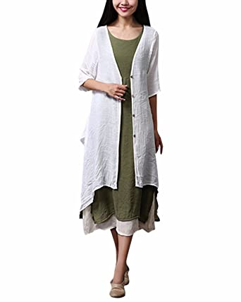 db94e2514b1bd0 ZANZEA Women's Cotton Linen Vintage Boho Loose Casual Blouse Long Shirt  Cotton Linen Jacket Tops Coat