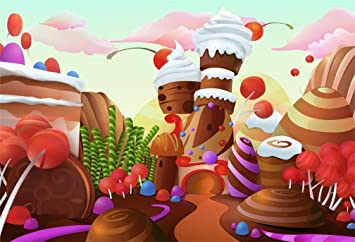 Candyland Chocolate Factory Christmas Party.Aofoto 8x6ft Fantasy Candy Land Landscape Background Cartoon Ice Cream Chocolate Cake Lollipop Photography Backdrop Dessert House Birthday Party