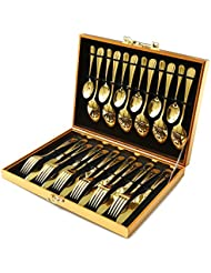 Silverware Set, Modern Royal 24-Pieces gold Stainless Steel Flatware Eating Utensils Include Knife