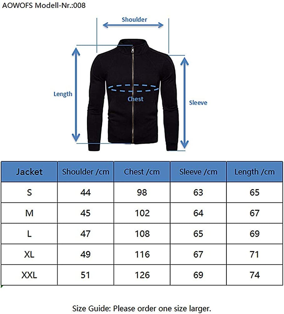 AOWOFS Mens Sweatshirt Regular Fit Unicolour Sweat Jacket with Zipper and Stand-up Collar Streetwear