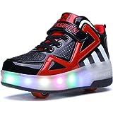 Bruce Lin Unisex Bambini LED Skateboard Scarpe Singola Doppio Rotelle LED Luci Lampeggiante Sneaker All'aperto Sportive Pattino A Rotelle Scarpe con Regolabili Rotelle