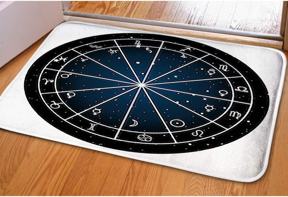 iBathRugs tapete para Puerta de Interior, Alfombra para Sala de Estar, decoración del hogar, tapete para recámara, tapetes para Piso, Signos de gráfico del Signo del Zodiaco de astrología: Amazon.es: Jardín
