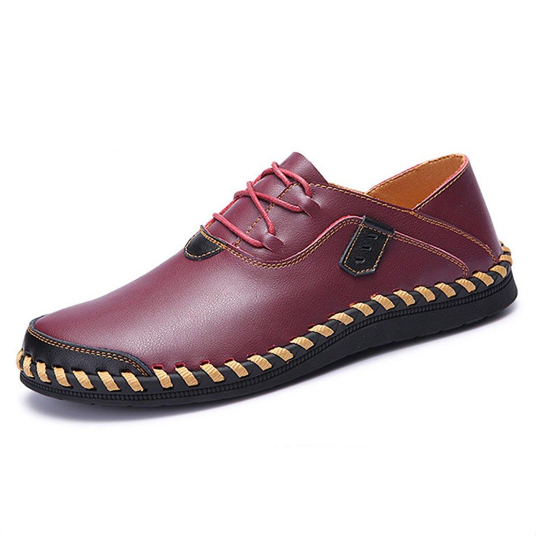 GAOLIXIA Zapatos de Negocios de Cuero Genuino de los Hombres Zapatos Casuales de Fondo Suave Zapatos de Trabajo de Moda Transpirable Zapatos Casuales al Aire Libre para Caminar de Gran Tamaño 38-47 39|Borgoa
