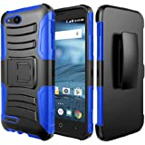 Zte Zfive G Phone Case with Screen Protector, Phonelicious Xtreme Armor [Heavy Duty] Hybrid Dual Layer Kickstand Belt [Holster Clip] Combo Rugged Tuff for ZTE ZFive G C Z557BL Z558VL (Blue)