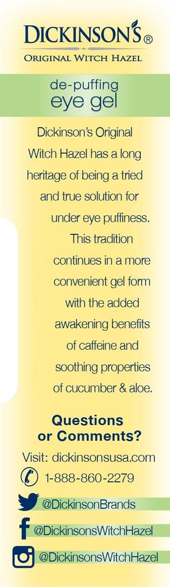 Dickinson's Original Witch Hazel De-Puffing Eye Gel, 0.5 Fluid Ounce