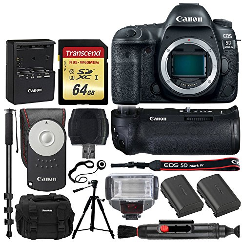 Canon EOS 5D Mark IV DSLR Camera (Body) + Canon BG-E20 Battery Grip + Canon Battery Pack LP-E6N + RC-6 Wireless Remote + 64GB Memory Card + TTL Flash + Photo4Less DC59 Case + Quality Tripod + More
