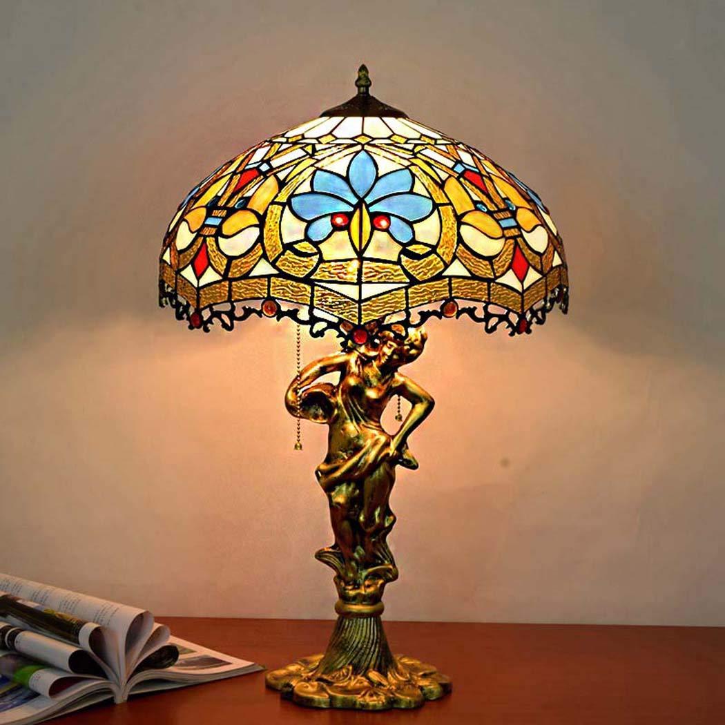 ティファニースタイルのテーブルランプ、ステンドグラステーブルライトスリーヘッドライト、ベッドルーム、リビングルームの夜ランプ   B07JNPYD6X