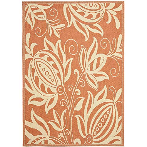 Courtyard Collection CY2961-3202 Terracotta and Natural Indoor/Outdoor Area Rug (5'3