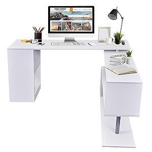 HOMCOM Modern L Shaped Rotating Computer Desk with Shelves - White