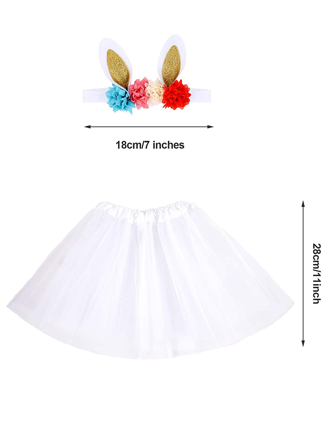 Zhanmai 3 Pieces Easter Bunny Ears Headband with Artificial Flowersand 3 Pieces Tutu Dress for Easter Children Costume Accessory