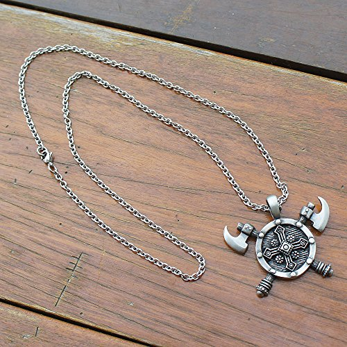 Viking Double edged Battle Axe Ax Pewter Pendant Stainless Steel Chain Necklace by OhDeal4U (Image #6)