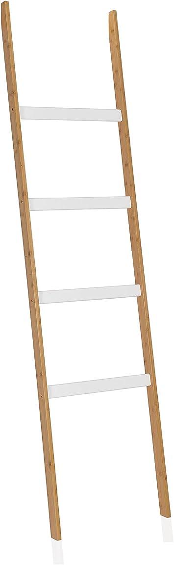Escalera decorativa de madera color blanco y madera portant: Amazon.es: Bricolaje y herramientas
