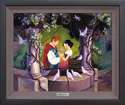 Disney Fine Art Wishing Well by Tim Rogerson Frame Dimensions: 20.5 Inches x 24.5 Inches Snow White Silver Series Reproduction Limited Edition on Canvas Framed Wall Art