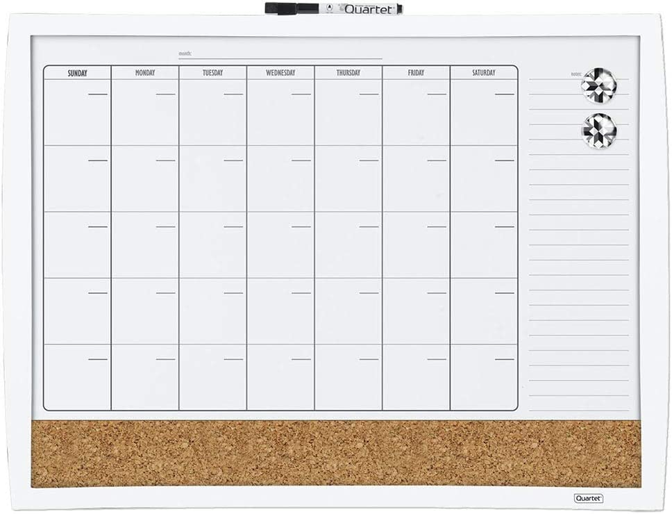 "Quartet Combination Magnetic Whiteboard Calendar & Corkboard, 17"" x 23"" Combo White Board & Cork Board, Curved Frame, White (38097-WT)"