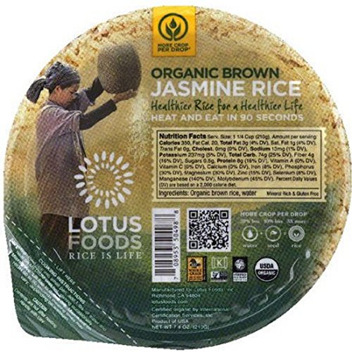 Lotus Foods Organic Rice Bowl - Brown Jasmine - 7.4 oz - 6 Pack