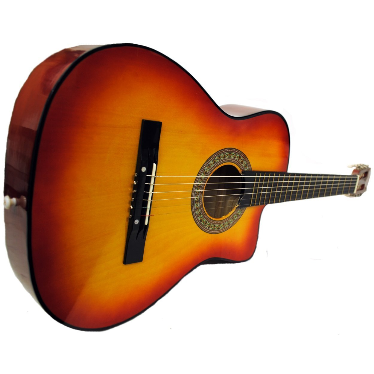 Full Size Acoustic Country/Bluegrass Cutaway Guitar with Gig Bag (Black) Shop4Omni