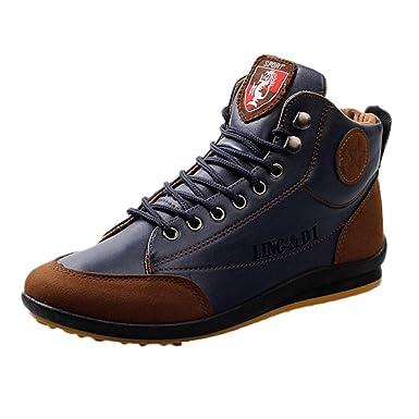 Moonuy Vintage Shoes Bottines Hommes Automne Lacets Bottes Cuir Souple  Rétro Chaussure de Travail Moto Botte 3bcf8decaf69