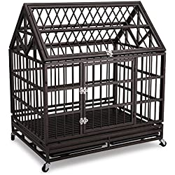 Heavy Duty Dog Crate 42'' Haige Pet Homestead Serise Dogs Cage Kennel with Tray and Wheels Brown