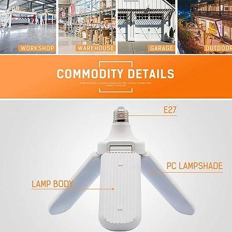 60W E27 Foldable Fan Blade Garage Shop LED Indoor Light Deformable Ceiling Light