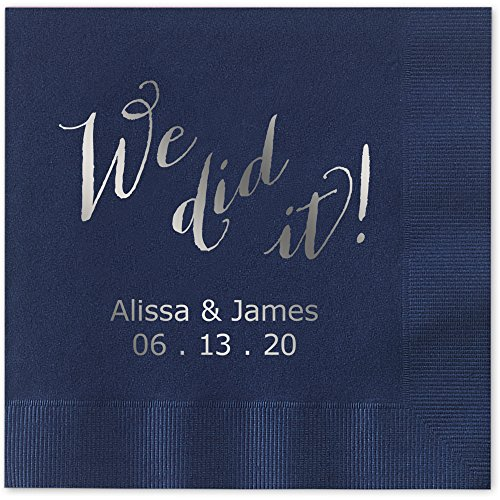 We Did It Personalized Luncheon Dinner Napkins - Canopy Street - 100 Custom Printed Navy Blue Paper Napkins with choice of foil stamp (5856L)