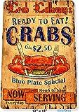 TIN SIGN 12'' x 18'' Serving Crab Seafood Fish Restaurant Tinworld B200