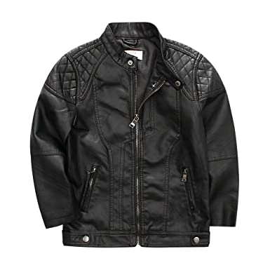 ff0cbc8cb3f6 Amazon.com  LJYH Kids Boys Motocycling Faux Leather Jacket Stand-up ...