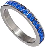 Birthstone Eternity Ring~September~Stainless Steel~Cubic Zirconia CZ Band~Sapphire~Blue Crystals~Stackable~Mother's Ring~Children's Ring~Women's Jewelry