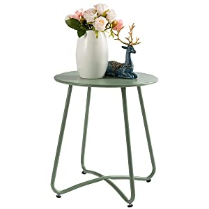 """HollyHOME Small Round Patio Metal Side Snack Table, Accent Anti-Rust Steel Coffee Table for Garden, Modern Weatherproof Outdoor End Table, (H) 17.55"""" x(D) 15.60"""", Atrovirens"""