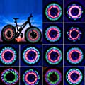 NEWBEGIN Bicycle Rim Lights, Waterproof Bike Spoke Light, 32LED 32 Changes Patterns Bicycle Wheel Lights, Double-Sided Colorful Bicycle Tire Decorations Lamp Accessories