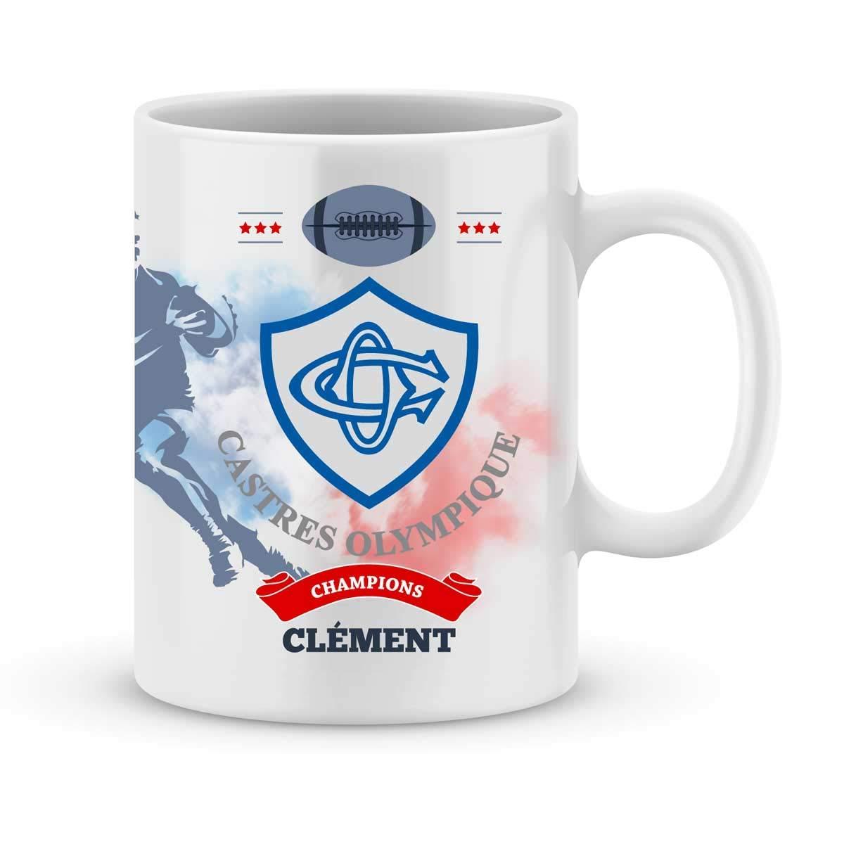 Mug Castres Olympique Rugby Top 14 à personnalisé avec votre prénom - Cadeau personnalisé rugby top 14 Castres - Cadeau anniversaire - Cadeau fête des pères - Cadeau Noël