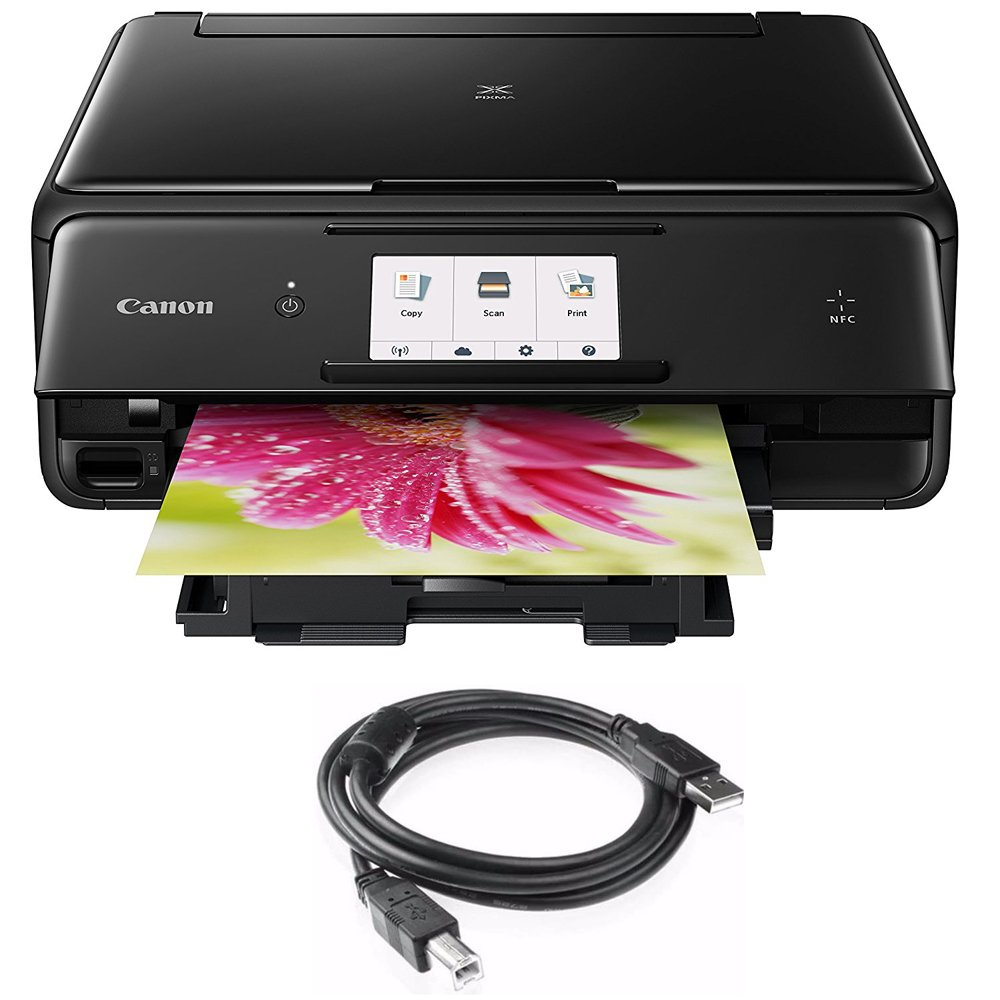 Canon PIXMA TS8020 Wireless All-In-One Printer with Scanner,Copier Black (1369C002) with High Speed 6-foot USB Printer Cable