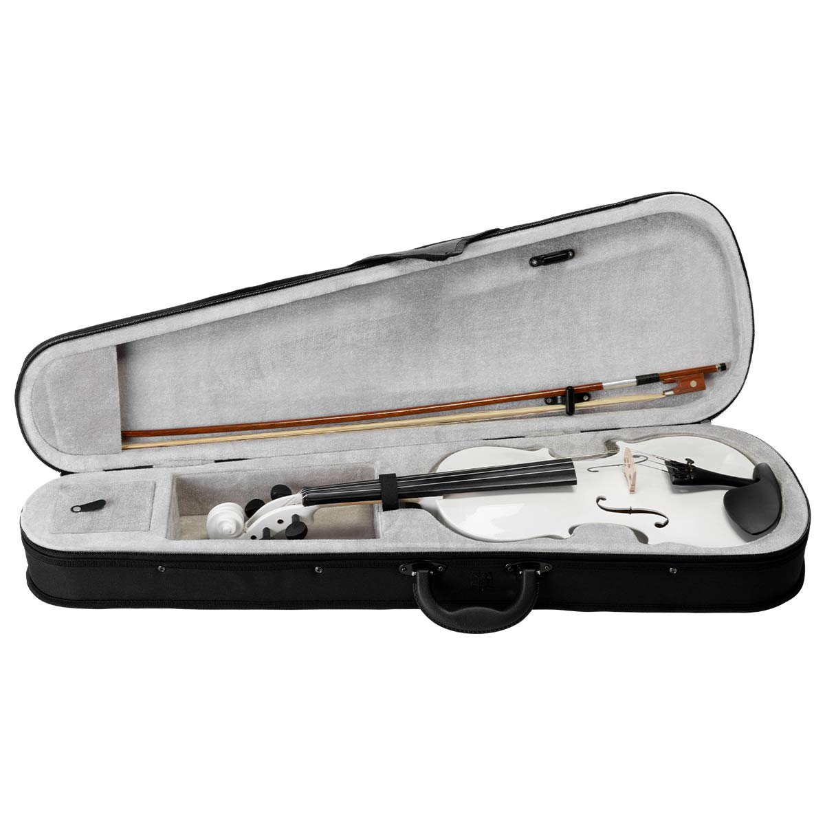 ARTALL 4/4 Handmade Student Acoustic Violin Beginner Pack with Bow, Hard Case, Chin Rest, Tuner, Spare Strings, Rosin and Bridge, Glossy White by ARTALL (Image #6)