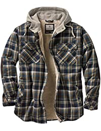 Men's Camp Night Berber Lined Hooded Flannel Shirt Jacket