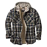 quilted plaid jacket - Legendary Whitetails Men's Camp Night Berber Lined Hooded Flannel (Upland Blue Brown Plaid, XX-Large Tall)