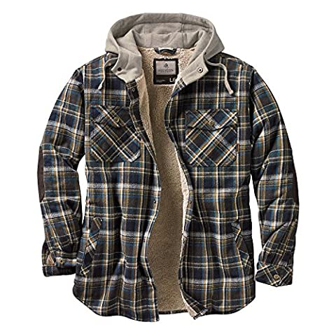 Legendary Whitetails Men's Camp Night Berber Lined Hooded Flannel (Upland Blue and Brown Plaid, - Signature Camp Shirts