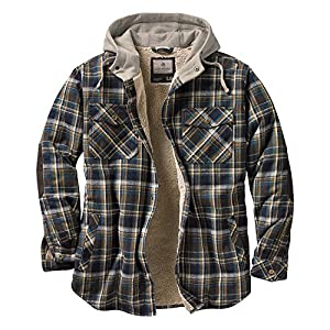 Legendary Whitetails Camp Men's Hooded Night Flannel Berber Lined Shirt