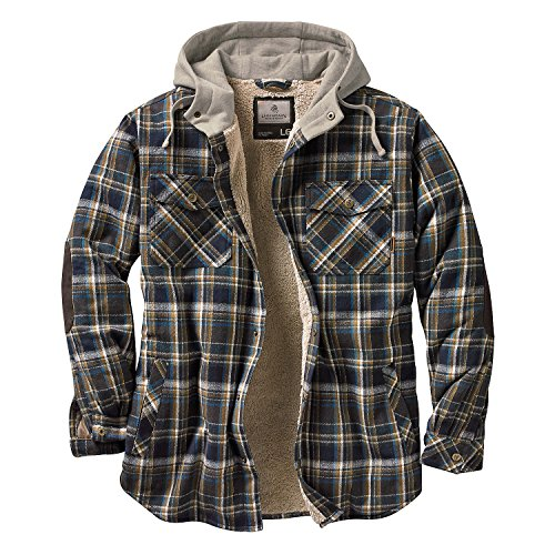 Legendary Whitetails Men's Camp Night Berber Lined Hooded Flannel (Upland Blue and Brown Plaid, Small) Berber Apparel