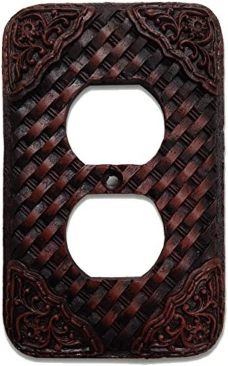 Woven Leather Look Resin Outlet Cover Plate