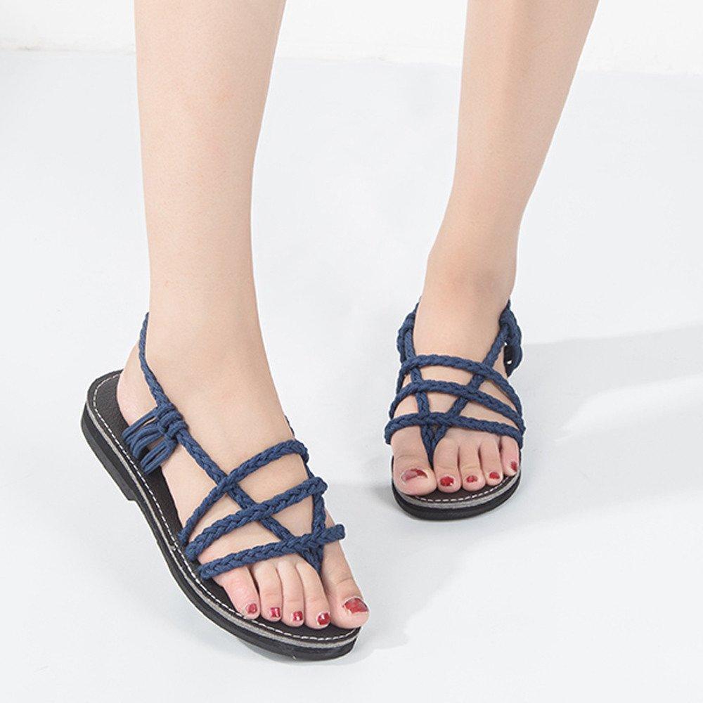 Clearance Sale Shoes For Shoes,Farjing Women Cross Roman Pinch Sandal Summer Shoes Slipper Fashion Beach Flat Shoes(US:8.5,Blue) by Farjing (Image #2)