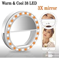 BMK Selfie Ring Light Clip Rechargeable 38 LED Bulbs Adjustable Selfie Lighting with 3X Magnifying Mirror Portable for iPhone, Tablet, iPad, Laptop, Camera(3X Mirror)