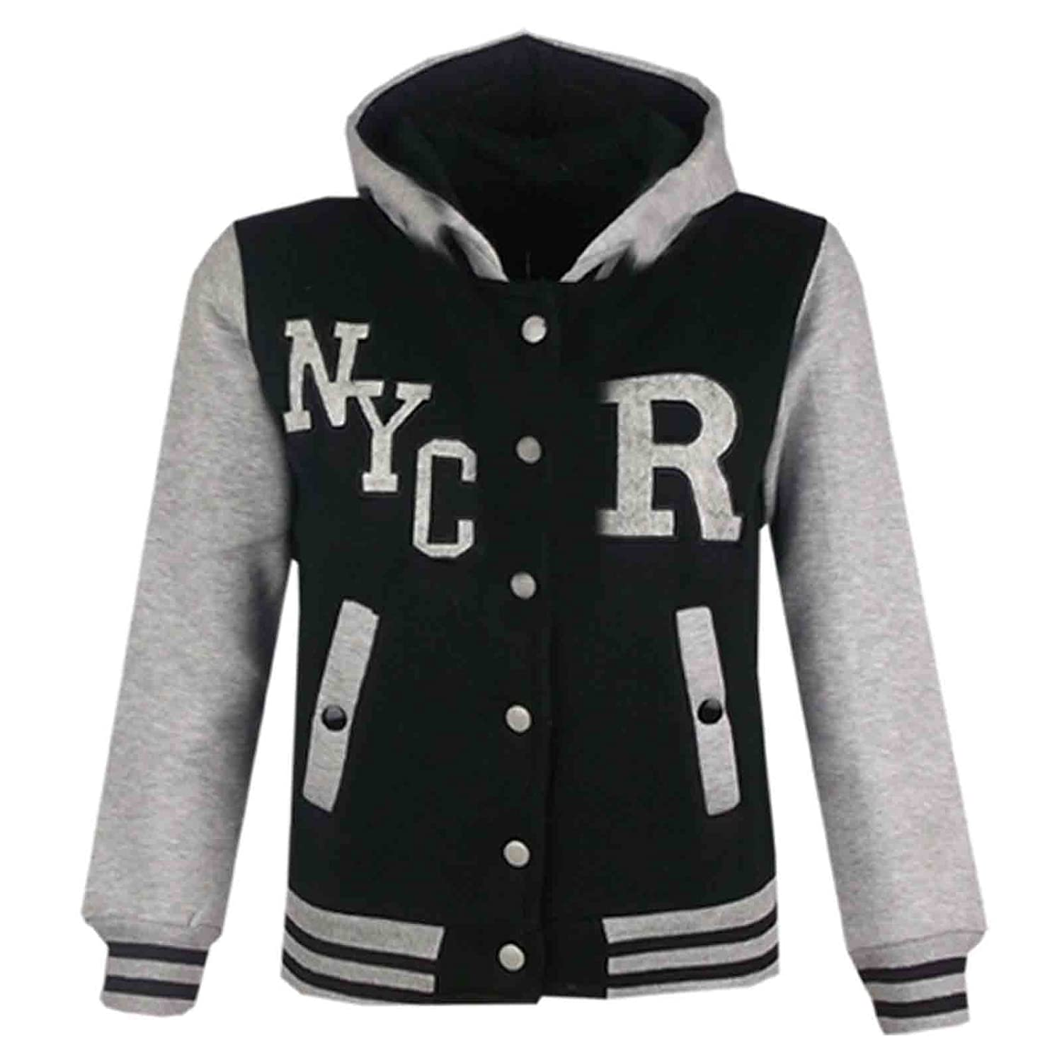 A2Z 4 Kids Kids Girls Boys R Fashion NYC FOX Baseball Hooded Jacket Varsity Hoodie