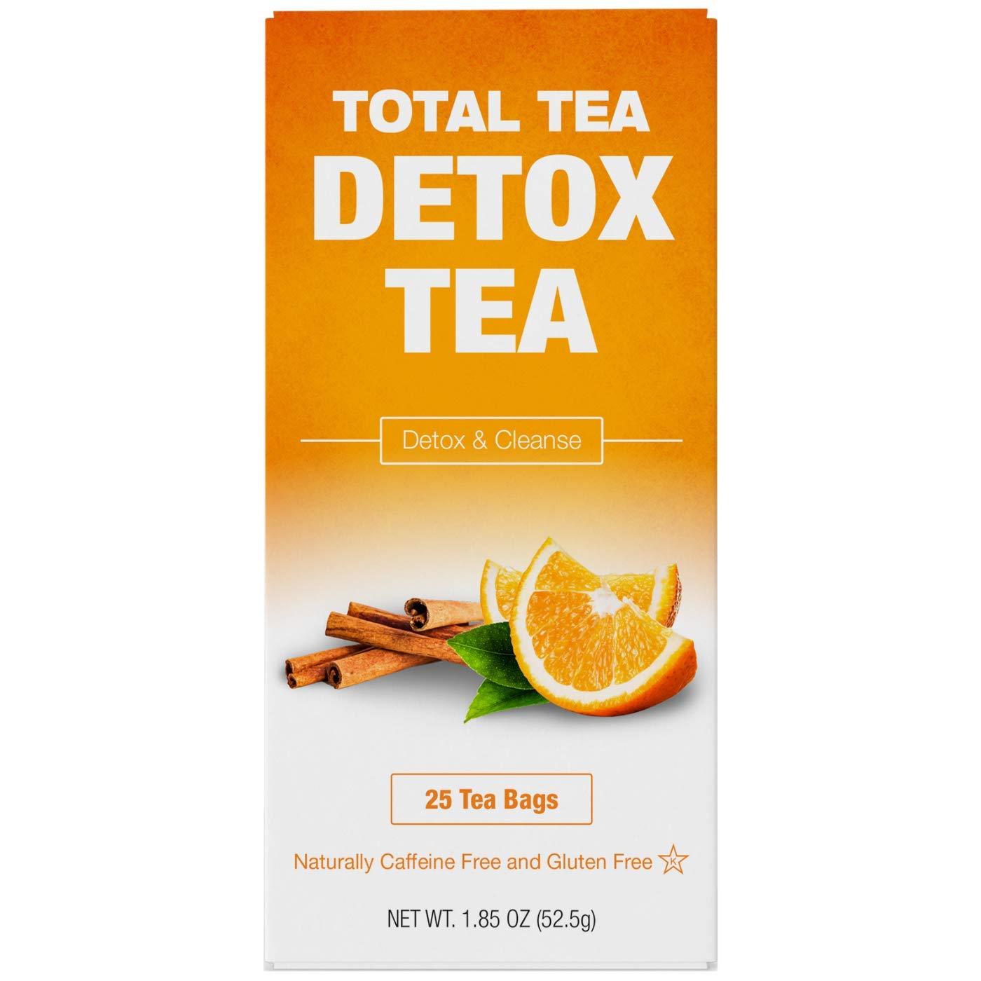 Total Tea Caffeine Free Detox Tea - All Natural - Slimming Herbal Tea for Gentle Cleansing - 25 Tea Bags : Herbal Supplements : Grocery & Gourmet Food