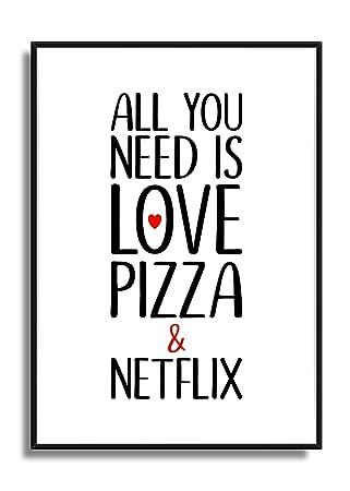 Kunstdruck Fine Art Schwarz Weiß Rot Liebe Pizza Netflix Poster