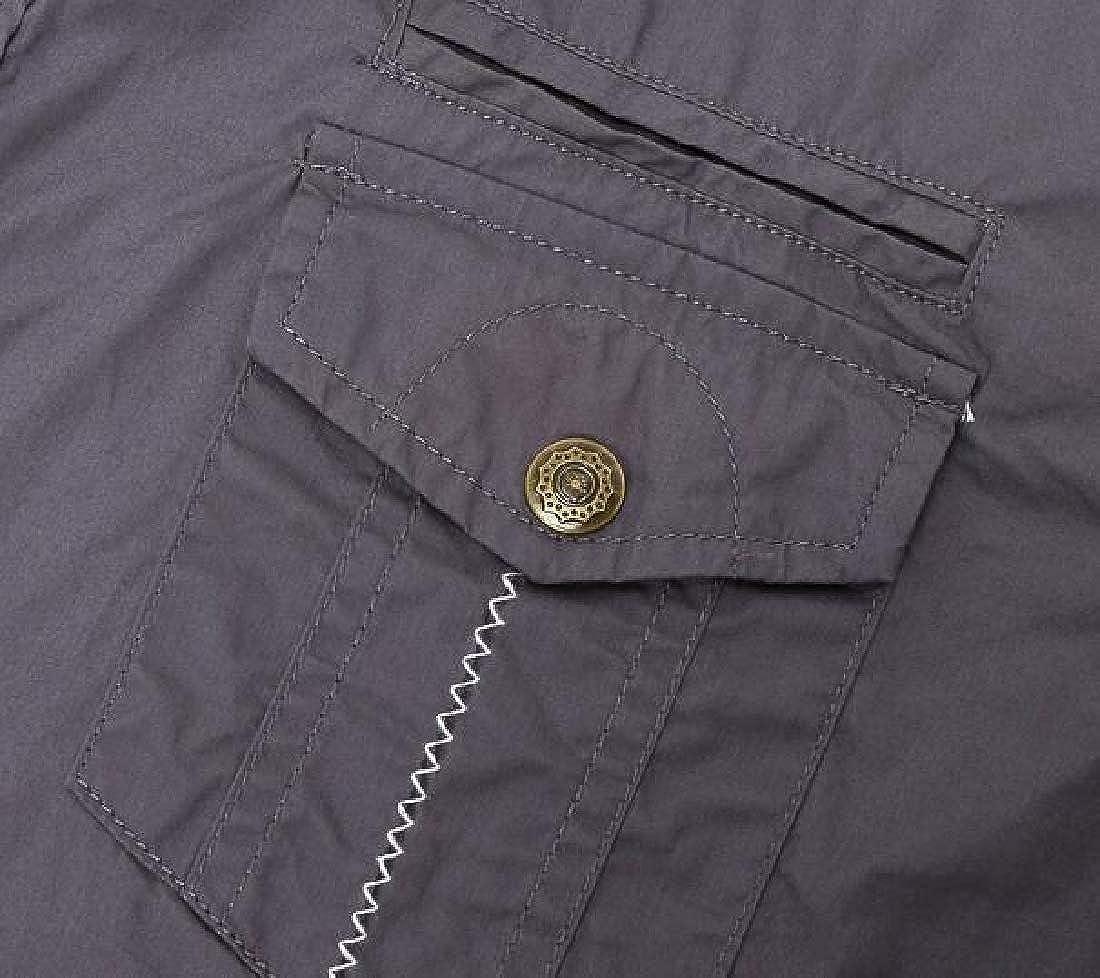 Fubotevic Mens Outdoor Dress Shirt Loose Short Sleeve Cotton Cargo Work Shirt
