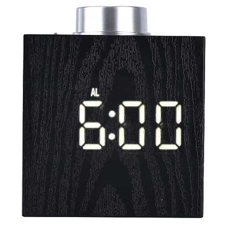 Vbestlife Despertador Digital LED del Escritorio Material de Madera Temporizador de Madera Moderno Reloj de Espejo