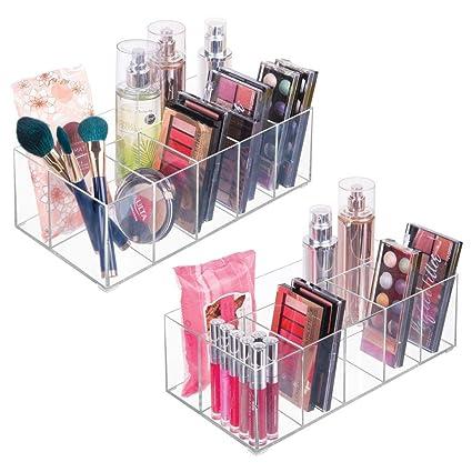 mDesign Organizador de maquillaje ? Caja transparente con 6 compartimentos - Ideal para guardar maquillaje,